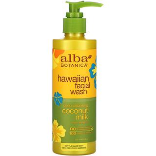 Alba Botanica, غسول الوجه من هاواي، حليب جوز الهند عميق التنظيف، 8 أونصات سائلة (237 مل)