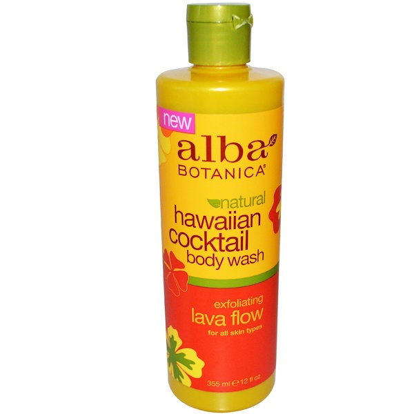 Alba Botanica, Hawaiian Cocktail, Body Wash, Exfoliating Lava Flow, 12 fl oz (355 ml) (Discontinued Item)