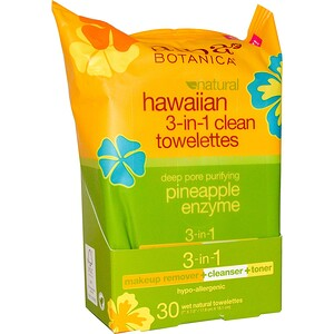 Алба Ботаника, Natural Hawaiian 3-in-1 Clean Towelettes,  Pineapple Enzyme, 30 Wet Towelettes отзывы покупателей