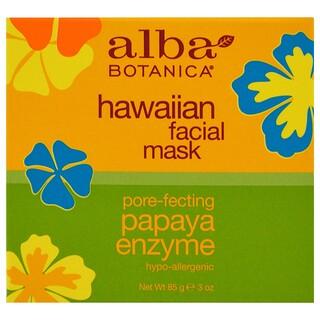 Alba Botanica, 하와이안 패이셜 마스크, 포어 패칭 파파야 효소, 3 oz (85 g)