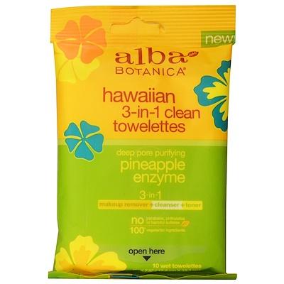 Alba Botanica 夏威夷三合一清潔濕巾,菠蘿酶,10張