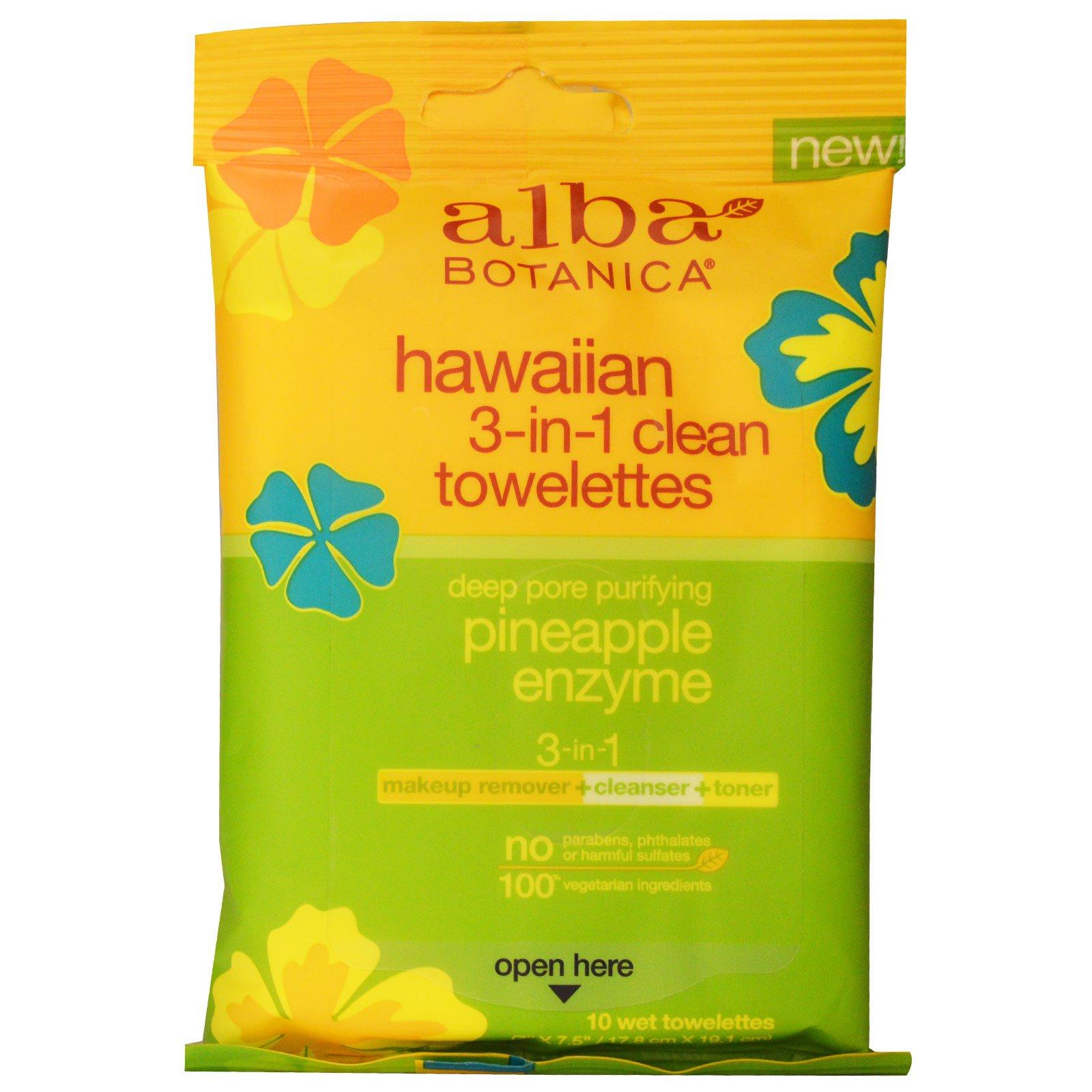 Alba Botanica, Гавайские влажные салфетки для очистки 3-в-1, ананасовый энзим, 10 влажных салфеток