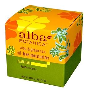 Alba Botanica, Alba Botanica, Увлажняющий крем с алоэ и зеленым чаем, не содержит масел, 3 унции (85 г)