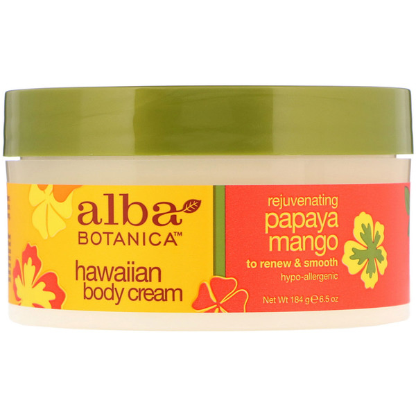 Alba Botanica, Rejuvenating Papaya Mango Hawaiian Body Cream, 6.5 oz (184 g) (Discontinued Item)