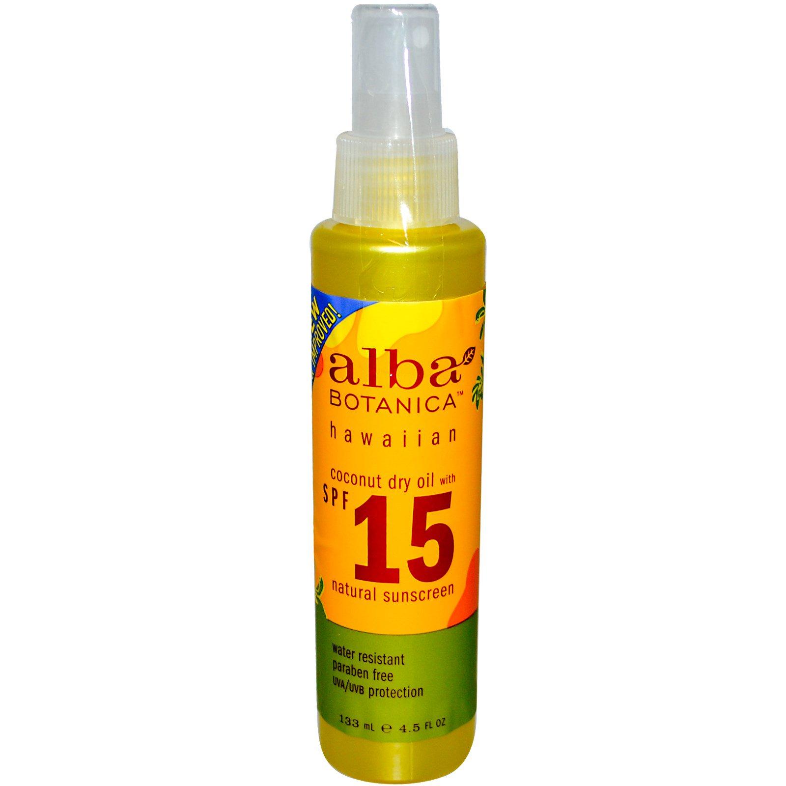 Alba Botanica, Кокосовое обезвоженное масло с фактором защиты SPF 15, Натуральный солнцезащитный фильтр, 4,5 жидкой унции (133 мл)