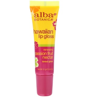 Alba Botanica, Hawaiian Lip Gloss, Passion Fruit Nectar, Tinted Gloss, 0.42 oz (12 g)