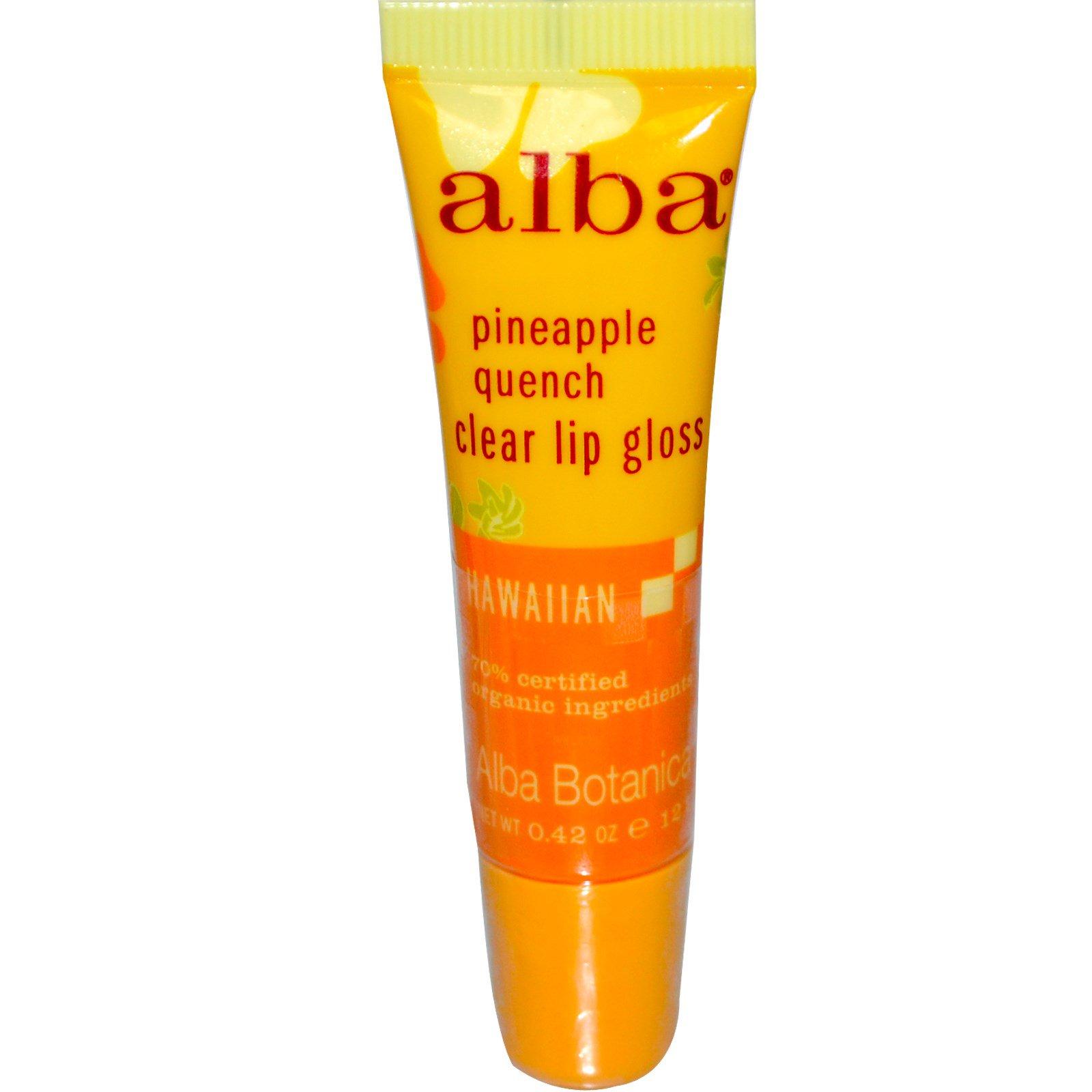 Alba Botanica, Прозрачный блеск для губ, с ароматом ананаса, 0.42 унций (12 г)