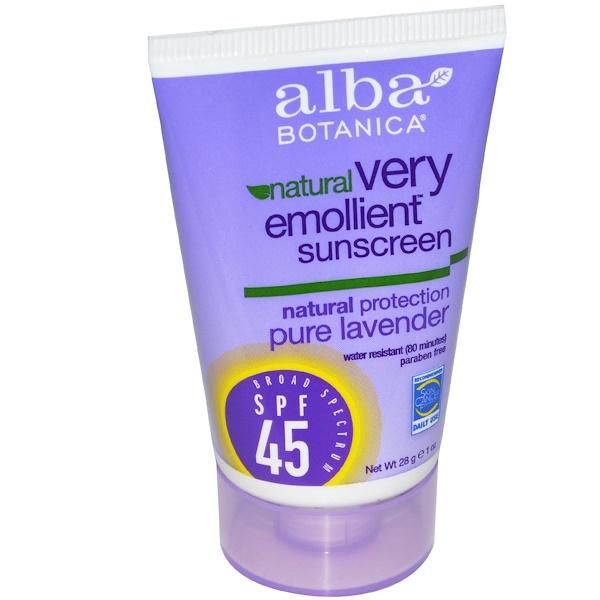 Alba Botanica, Natural Very Emollient, Sunscreen, SPF 45, Pure Lavender, 1 oz (28 g)