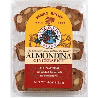 Almondina, Gingerspice, Almond and Ginger Biscuits, 4 oz (113 g)