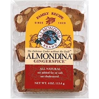 Almondina, Gingerspice, Almendra y Jengibre Galletas, 4 oz (113 g)
