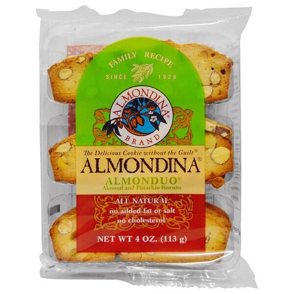 Almondina, Almonduo, Almond and Pistachio Biscuits, 4 oz (113 g)