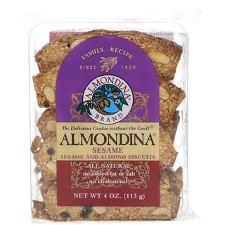 Almondina, Sesame، بسكوت باللوز والسمسم، 4 أونصة (113 غ)