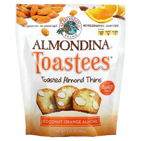 Almondina, Toastees, Toasted Almond Thins, Coconut Orange Almond, 5.25 oz (149 g)
