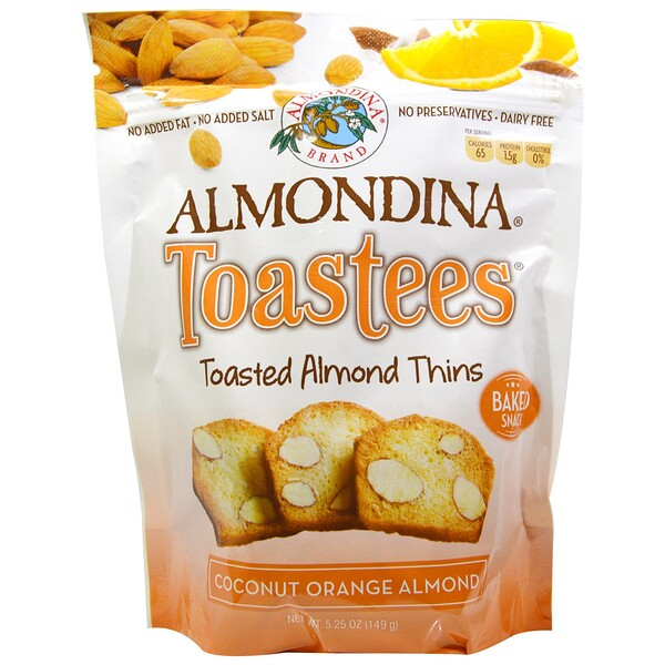 Almondina, Toastees, Toasted Almond Thins, Coconut Orange Almond, 5.25 oz (149 g)
