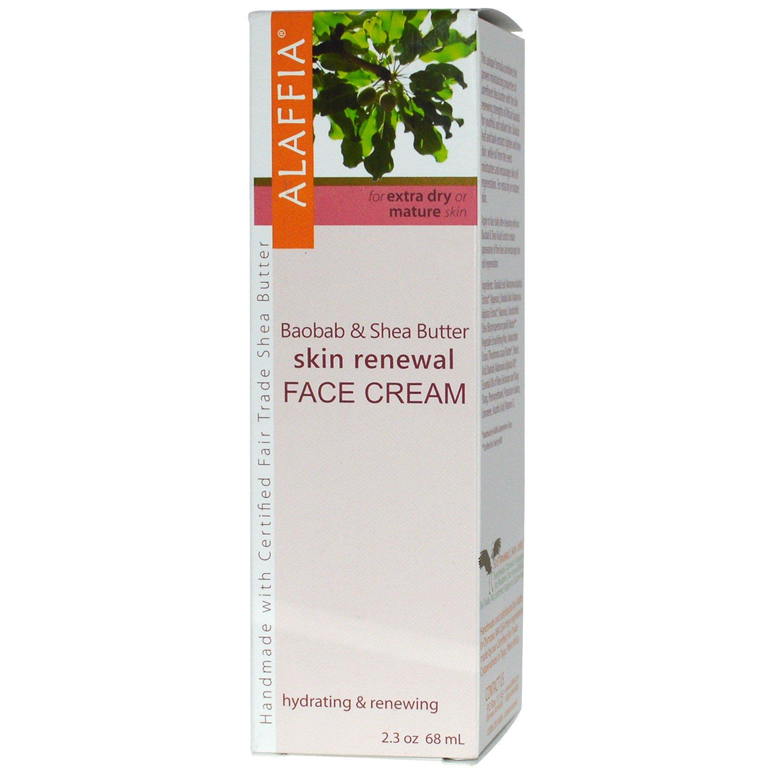 Alaffia Skin Renewal Face Cream - Baobab & Shea - 2.3 oz Cosmetic Skin Care Beauty Tool Face Facial Mask Brush