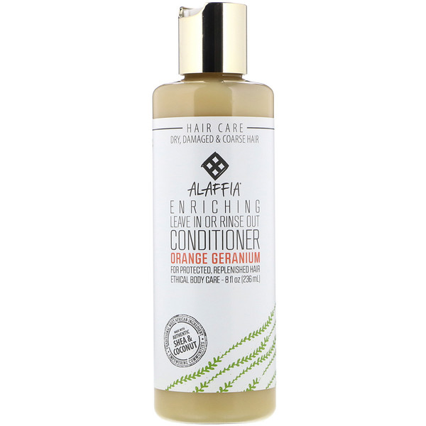 Alaffia, Enriching Leave In or Rinse Out Conditioner, Orange Geranium, 8.0 fl oz (236 ml)