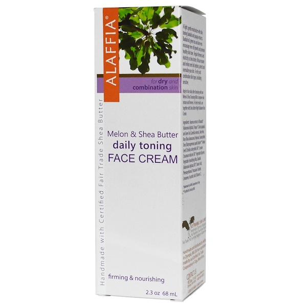 Alaffia, Daily Toning Face Cream, Melon & Shea Butter, 2.3 oz (68 ml) (Discontinued Item)