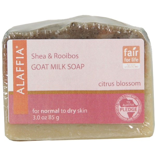 Alaffia, Shea & Rooibos Goat Milk Soap, Citrus Blossom, 3.0 oz (85 g) (Discontinued Item)