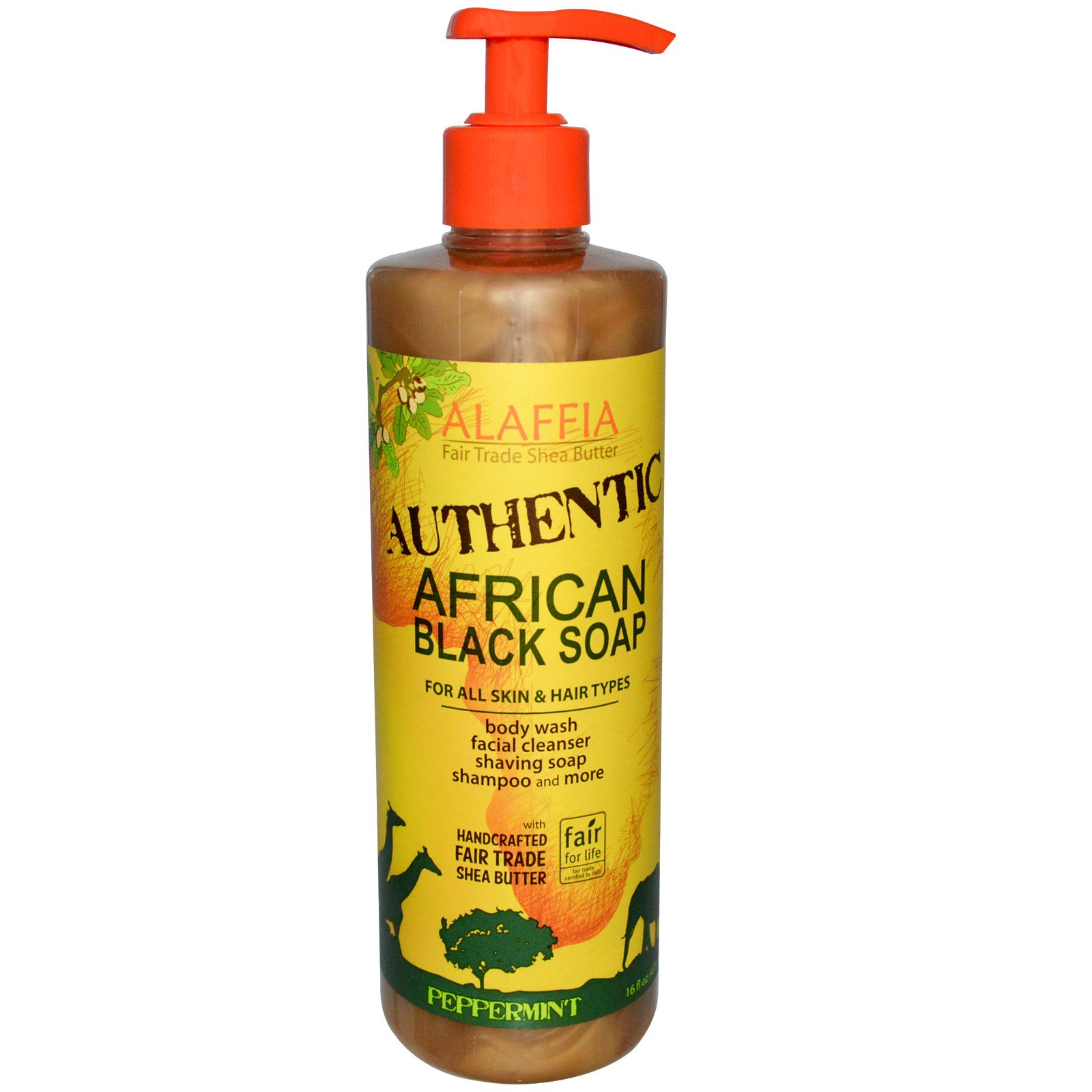 Alaffia, Оригинальное африканское черное мыло с перечной мятой и маслом Ши, 16 жидких унций (475 мл)