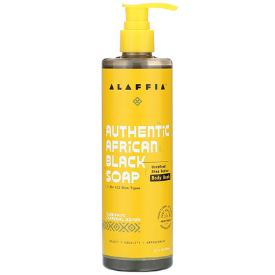 Купить Alaffia Authentic African Black Soap Body Wash, Charcoal Honey, 12 fl oz (354 ml)