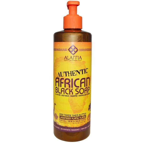 Alaffia, Authentic African Black Soap, Lavender Ylang Ylang, 16 fl oz (475 ml)
