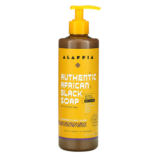 Alaffia, Authentic African Black Soap, Lavender Ylang Ylang, 16 fl oz (478 ml)
