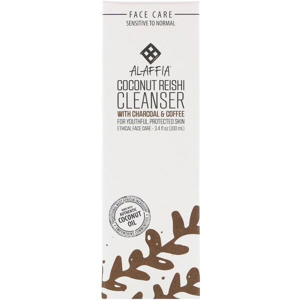 Alaffia, Coconut Reishi, Cleanser with Charcoal & Coffee, 3.4 fl oz (100 ml)