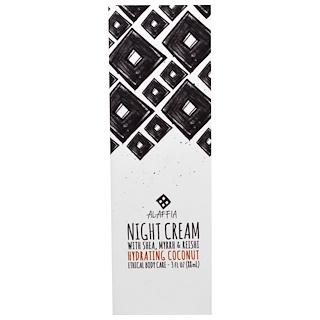Alaffia, Night Cream, Hydrating Coconut, 3 fl oz (88 ml)