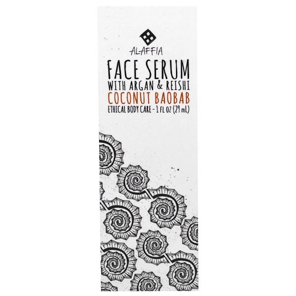 Alaffia, Face Serum, Coconut Baobab, 1 fl oz (29 ml) (Discontinued Item)