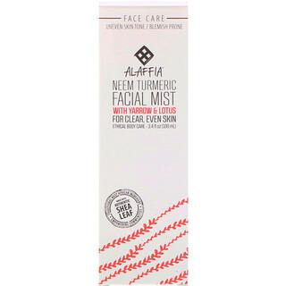 Alaffia, Neem Turmeric Facial Mist with Yarrow & Lotus, 3.4 fl oz (100 ml)