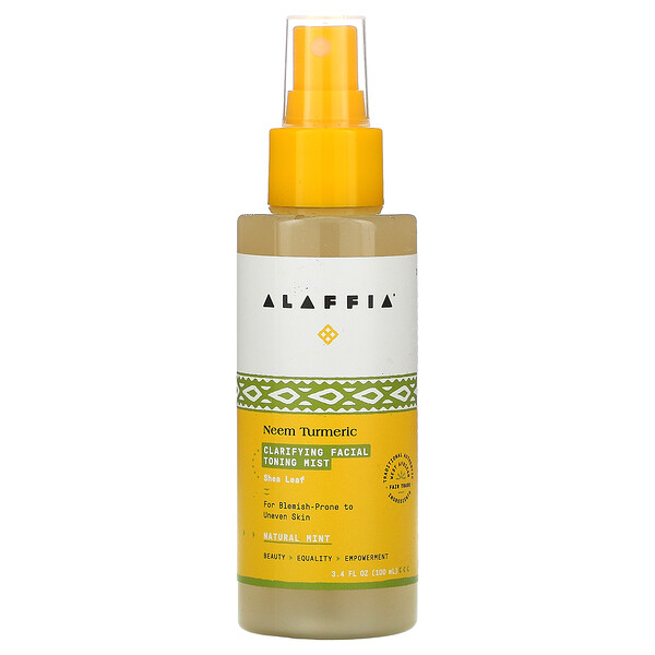Alaffia, Neem Turmeric Clarifying Facial Toning Mist, Natural Mint, 3.4 fl oz (100 ml)
