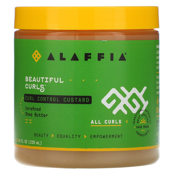 Alaffia, Beautiful Curls, Curl Control Custard, All Curls, Unrefined Shea Butter, 8 fl oz (235 ml)
