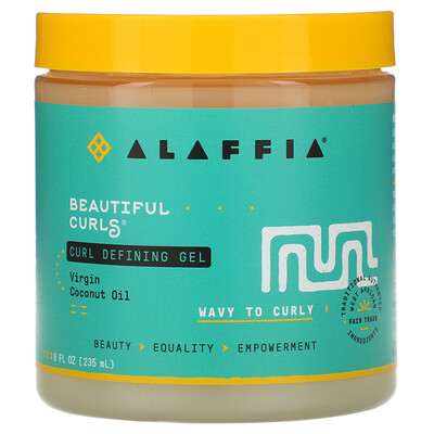 Alaffia Beautiful Curls, Curl Defining Gel, Wavy to Curly, Virgin Coconut Oil, 8 fl oz (235 ml)