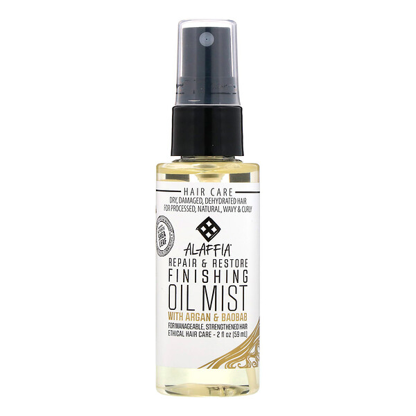 Alaffia, Repair & Restore, Finishing Oil Mist with Argan & Baobab, 2 oz (59 ml) (Discontinued Item)