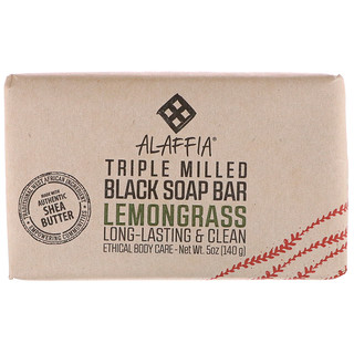 Alaffia, Triple Milled Black Soap Bar, Lemongrass, 5 oz (140 g)