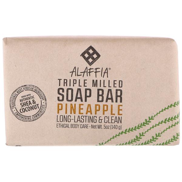 Alaffia, Triple Milled Soap Bar, Pineapple, 5 oz (140 g)