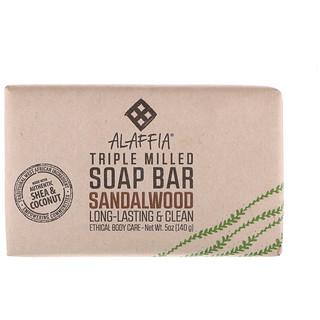 Alaffia, Triple Milled Soap Bar, Sandalwood, 5 oz (140 g)