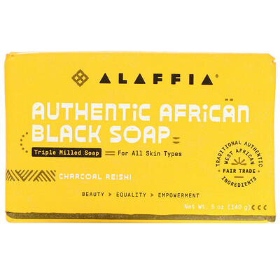 Alaffia Authentic African Black Soap, Triple Milled Soap, Charcoal Reishi, 5 oz ( 140 g )