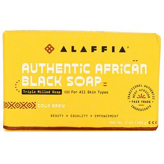 Alaffia, Authentic African Black Soap, Triple Milled Soap, Cold Brew, 5 oz (140 g)