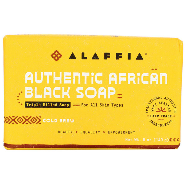 Authentic African Black Soap, Triple Milled Soap, Cold Brew, 5 oz (140 g)