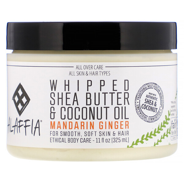 Alaffia, Whipped Shea Butter & Coconut Oil, Mandarin Ginger, 11 fl oz (325 ml)