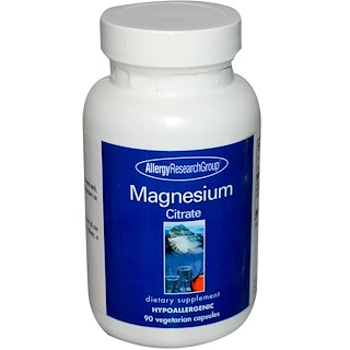 Allergy Research Group, 마그네슘 구연산, 90 베지 캡슐