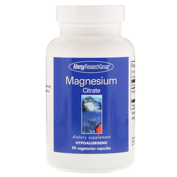 Allergy Research Group, Magnesium Citrate (Citrato de Magnesio), 90 Cápsulas Vegetales