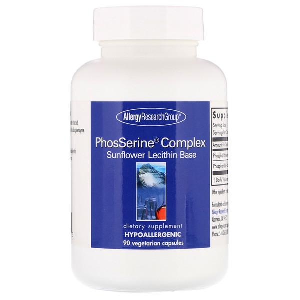 品牌從A - ZAllergy Research Group類別補充品健康的生活方式磷脂酰絲氨酸:Allergy Research Group, PhosSerine Complex,90粒種素食膠囊