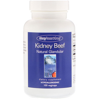 Allergy Research Group, Kidney Beef, Natural Glandular, 100 Vegicaps