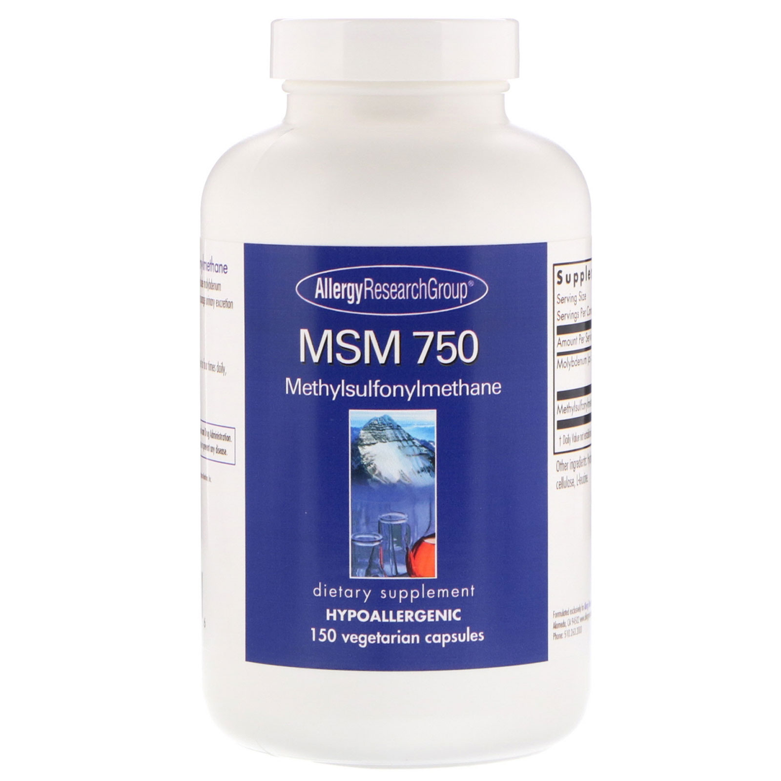 Allergy Research Group, MSM 750, 150 Vegetarian Capsules - iHerb com