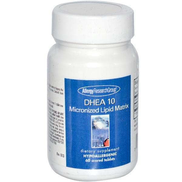 Allergy Research Group, DHEA 10, микронизированная липидная матрица, 60 таблеток с насечкой (Discontinued Item)