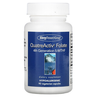 Allergy Research Group, QuatreActiv Folato, Cuarta Generación 5-MTHF, 90 Cápsulas Veganas