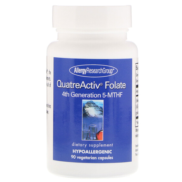 Allergy Research Group, Folato QuatreActiv, 5-MTHF de Quarta Geração, 90 Cápsulas Vegetais
