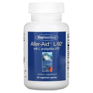 Allergy Research Group, Aller-Aid L-92 con L. Acidophilus L-92, 60 cápsulas vegetarianas